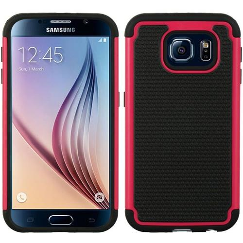 Insten Dots Hard Hybrid TPU Case For Samsung Galaxy S6, Hot Pink/Black