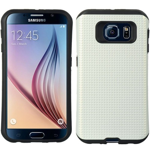 Insten Dots Hard Dual Layer TPU Cover Case For Samsung Galaxy S6, White/Black