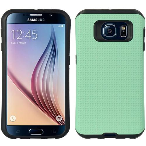 Insten Dots Hard Dual Layer TPU Cover Case For Samsung Galaxy S6, Teal/Black