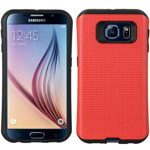 Insten Dots Hard Hybrid TPU Cover Case For Samsung Galaxy S6, Red/Black