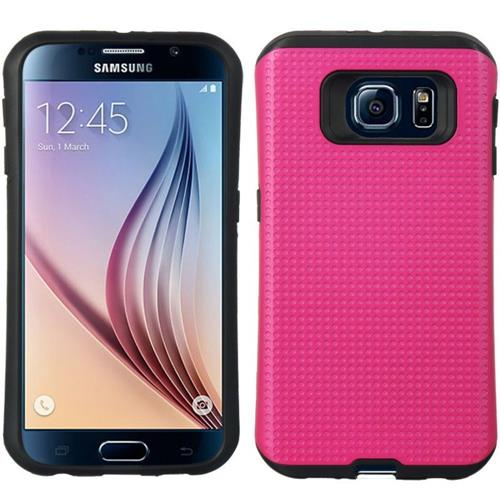 Insten Dots Hard Hybrid TPU Cover Case For Samsung Galaxy S6, Hot Pink/Black
