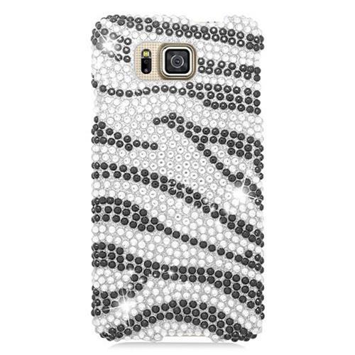 Insten Zebra Hard Rhinestone Case For Samsung Galaxy Alpha, Black/Silver