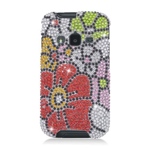 Insten Flowers Hard Bling Cover Case For Samsung Galaxy Rugby Pro, Red/Green