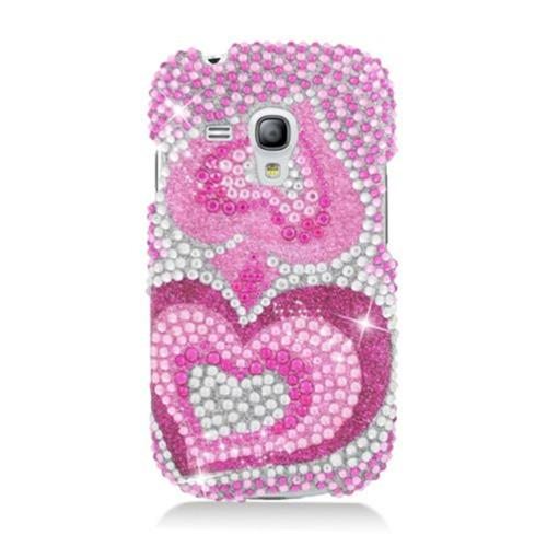 Insten Hearts Hard Diamond Case For Samsung Galaxy S3 Mini, Hot Pink