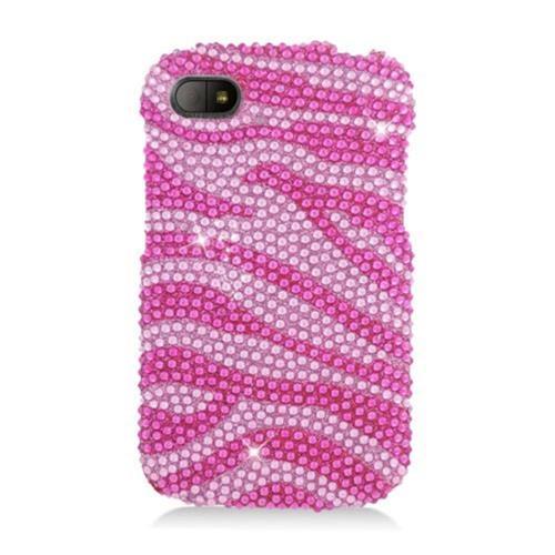 Insten Zebra Hard Bling Cover Case For BlackBerry Q10, Purple/Silver