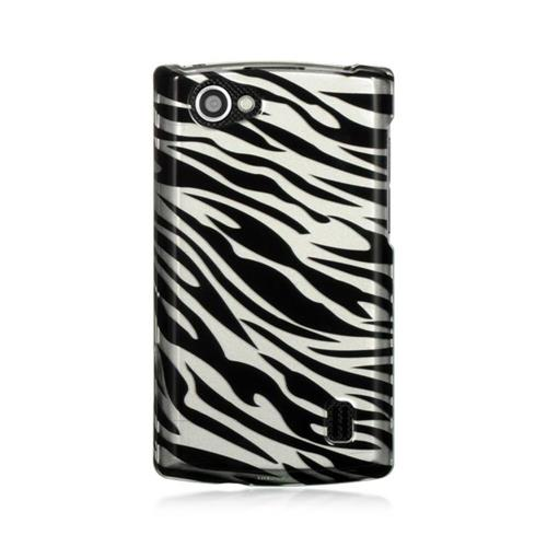 Insten Zebra Hard Rubber Cover Case For LG Optimus M+, Black/White