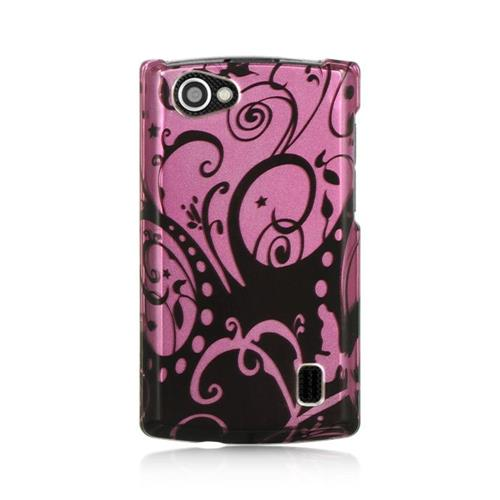 Insten Swirl Hard Rubber Coated Case For LG Optimus M+, Black/Purple