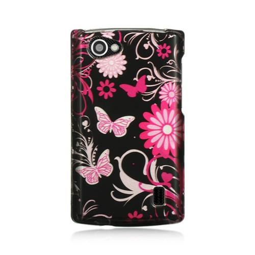 Insten Butterfly Hard Rubber Case For LG Optimus M+, Black/Hot Pink