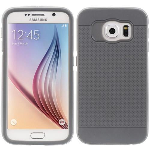 Insten Rubber Hybrid Hard Case For Samsung Galaxy S6, Gray/Silver