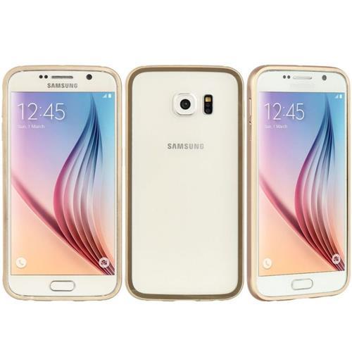 Insten Hard Metallic Case For Samsung Galaxy S6, Clear/Gold