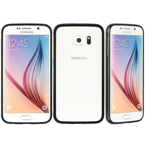 Insten Hard Metallic Case For Samsung Galaxy S6, Clear/Black