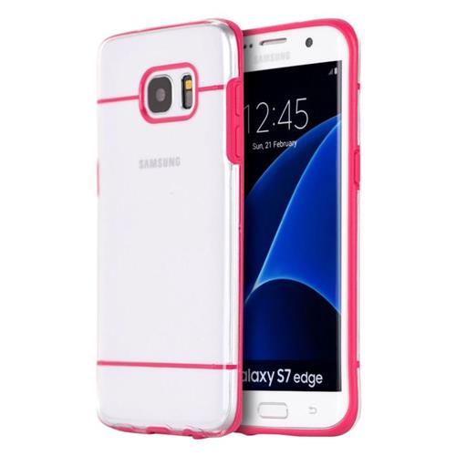 Insten Hard TPU Case For Samsung Galaxy S7 Edge, Clear/Hot Pink