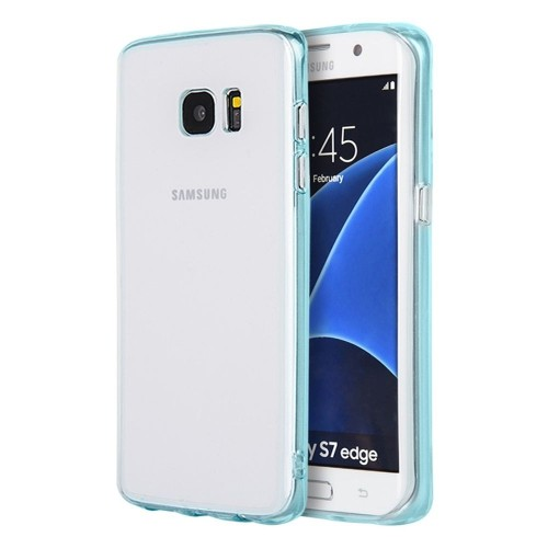 Insten Gel Case For Samsung Galaxy S7 Edge, Clear/Teal