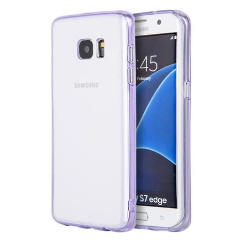 Insten Gel Cover Case For Samsung Galaxy S7 Edge, Clear/Purple