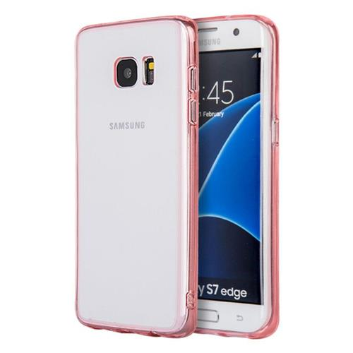 Insten Rubber Cover Case For Samsung Galaxy S7 Edge, Clear/Pink