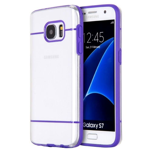 Insten Rubber Case For Samsung Galaxy S7, Clear/Purple