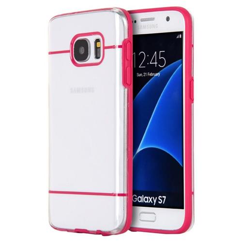 Insten TPU Case For Samsung Galaxy S7, Clear/Hot Pink