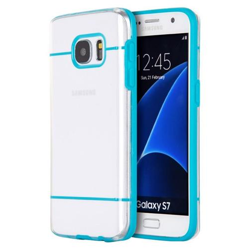 Insten Rubber Case For Samsung Galaxy S7, Clear/Blue
