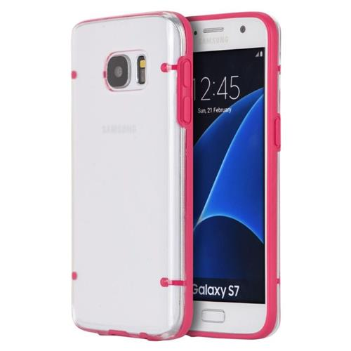 Insten Fitted Soft Shell Case for Samsung Galaxy S7 - Hot Pink;Clear