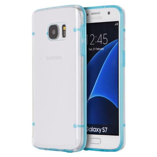 Insten Gel Case For Samsung Galaxy S7, Clear/Blue