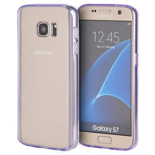Insten Gel Cover Case For Samsung Galaxy S7, Clear/Purple