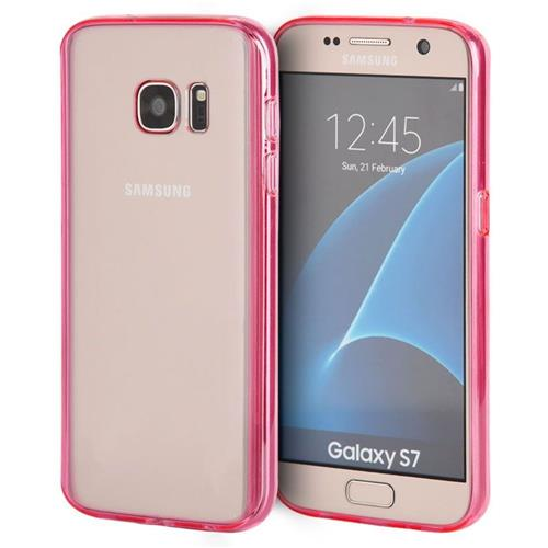 Insten Fitted Hard Shell Case for Samsung Galaxy S7 - Hot Pink;Clear