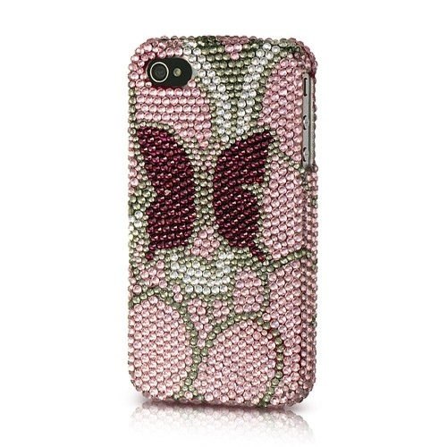 Insten Butterfly Hard Bling Cover Case For Apple iPhone 4/4S, Pink