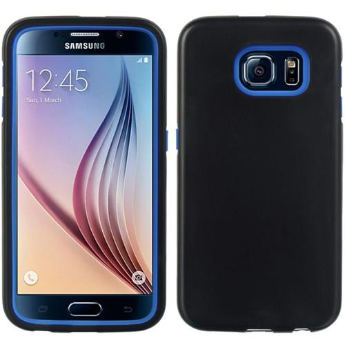 Insten Hard Dual Layer Rubber Coated Silicone Cover Case For Samsung Galaxy S6, Blue/Black