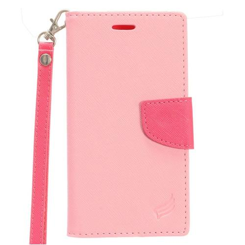 Insten Leather Fabric Case Lanyard w/stand/card slot/Photo Display For HTC 10 EVO / Bolt, Pink