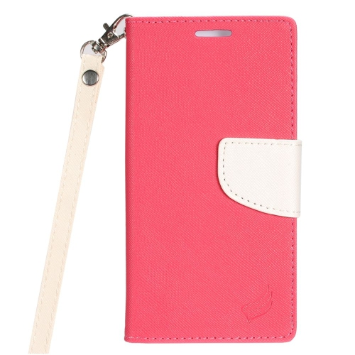 Insten Leather Case Lanyard w/stand/card slot/Photo Display For HTC 10 EVO / Bolt, Hot Pink/White
