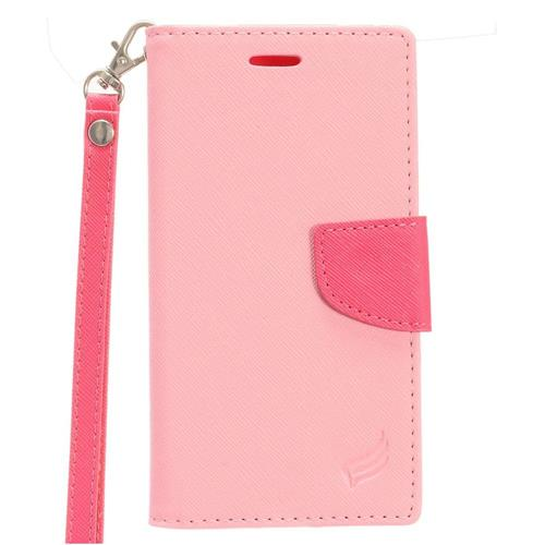 Insten Flip Leather Fabric Cover Case Lanyard w/stand/card slot/Photo Display For LG Aristo, Pink