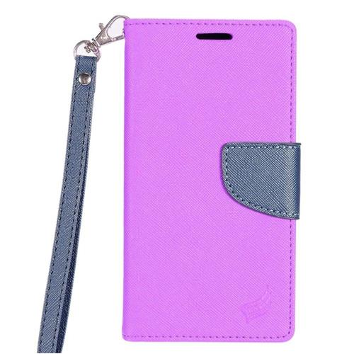 Insten Folio Leather Fabric Case Lanyard w/stand/card slot/Photo Display For LG Stylo 3, Purple