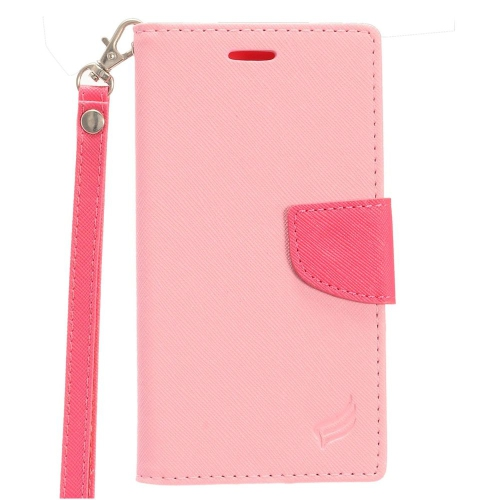 Insten Leather Fabric Case Lanyard w/stand/card holder/Photo Display For LG Stylo 3, Pink