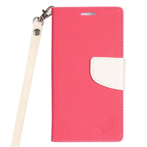 Insten Folio Leather Case Lanyard w/stand/card slot/Photo Display For LG Stylo 3, Hot Pink/White
