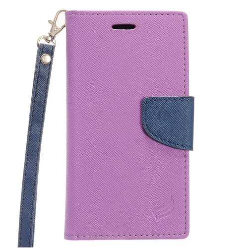 Insten Book-Style Leather Fabric Case Lanyard w/stand/card slot/Photo Display For LG V20, Purple