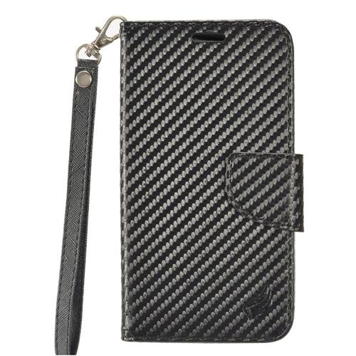 Insten Book-Style Leather Fabric Case Lanyard w/stand/card holder/Photo Display For LG V20, Black