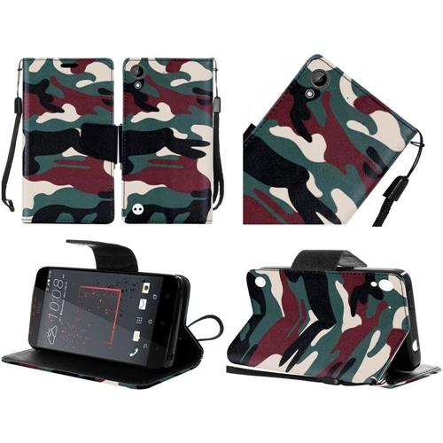 Insten Camouflage Flip Leather Fabric Case Lanyard w/stand For HTC Desire 530/550/555, Green/Brown