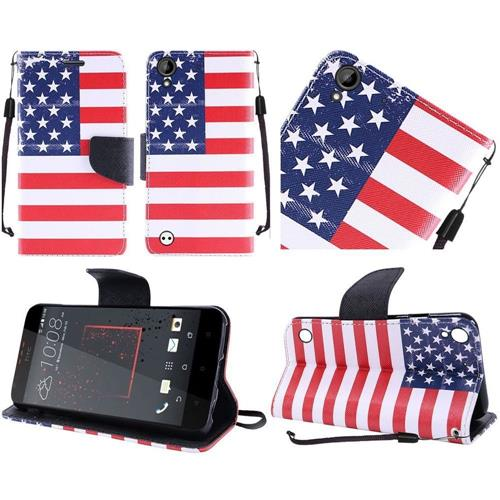 Insten US National Flag Leather Fabric Case Lanyard w/stand/card holder For HTC Desire 530/550/555