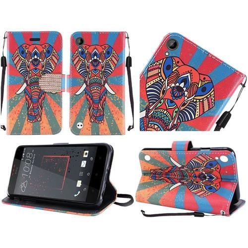 Insten Elephant Leather Case Lanyard w/stand/card holder/Diamond For HTC Desire 530, Colorful
