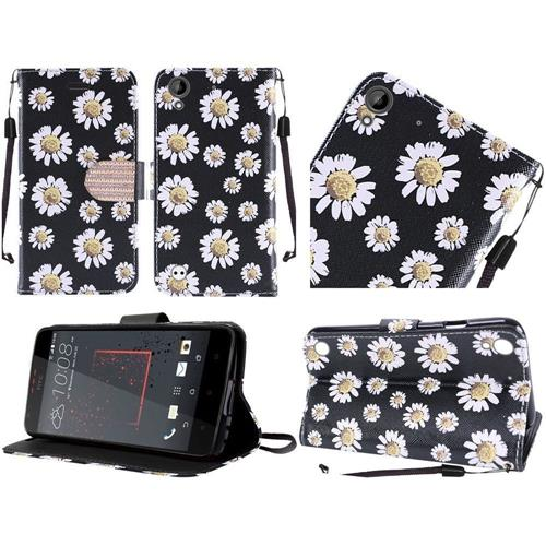 Insten Daisy Blossom Leather Fabric Case Lanyard w/stand For HTC Desire 530/550/555, Black/White