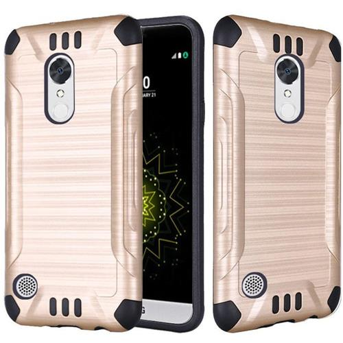 Insten Hard Hybrid Rubberized Silicone Case For LG Grace 4G/Harmony/K20 Plus/K20 V, Gold