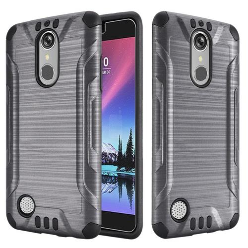 Insten Hard Hybrid Rubber Silicone Case For LG Grace 4G/Harmony/K20 Plus/K20 V, Gray