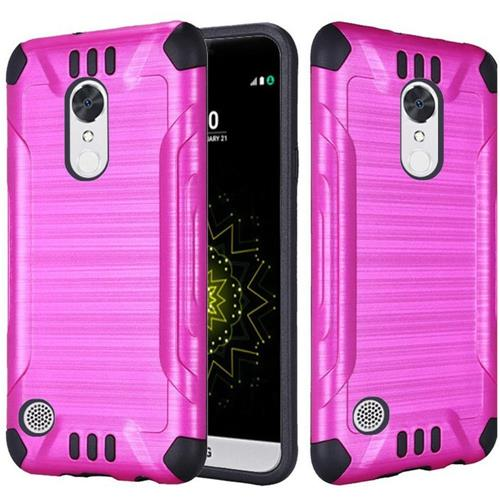 Insten Hard Dual Layer Rubberized Silicone Case For LG Grace 4G/Harmony/K20 Plus/K20 V, Hot Pink