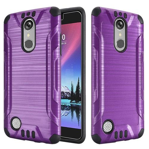 Insten Hard Dual Layer Rubber Silicone Cover Case For LG Grace 4G/Harmony/K20 Plus/K20 V, Purple