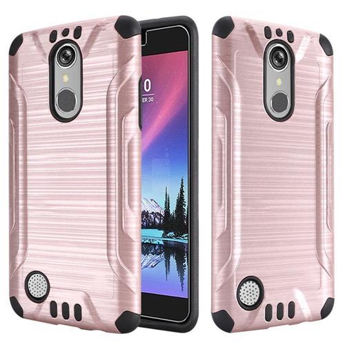 Insten Hard Hybrid Silicone Cover Case For LG Grace 4G/Harmony/K20 Plus/K20 V, Rose Gold