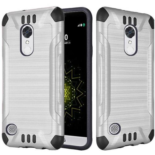 Insten Hard Dual Layer Silicone Case For LG Grace 4G/Harmony/K20 Plus/K20 V, Silver