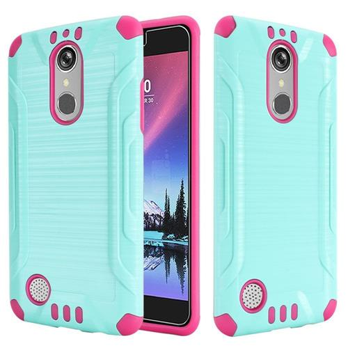 Insten Hard Dual Layer Silicone Case For LG Grace 4G/Harmony/K20 Plus/K20 V, Teal/Hot Pink