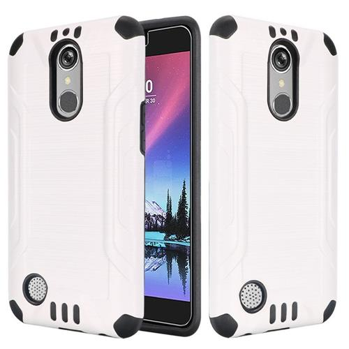 Insten Hard Dual Layer Silicone Cover Case For LG Grace 4G/Harmony/K20 Plus/K20 V, White