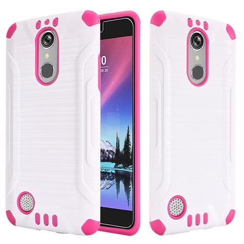 Insten Hard Dual Layer Rubber Silicone Case For LG Grace 4G/Harmony/K20 Plus/K20 V, White/Hot Pink