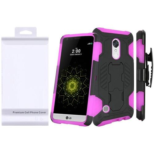 Insten Hard Hybrid TPU Cover Case w/Holster For LG Grace 4G/Harmony/K20 Plus/K20 V, Hot Pink/Black